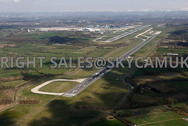 Manchester Airport Pilots cockpit view of the Parallel Runways and Terminal buildings