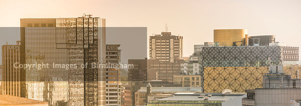 Rooftops of Birmingham, West Midlands, England, UK. Pictured is the Hyatt hotel, and the new Library of Birmingham.