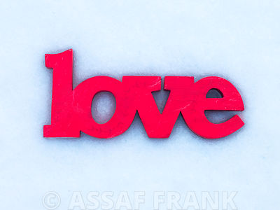Love sign in snow