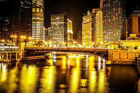 Picture of Chicago at Night with State Street Bridge