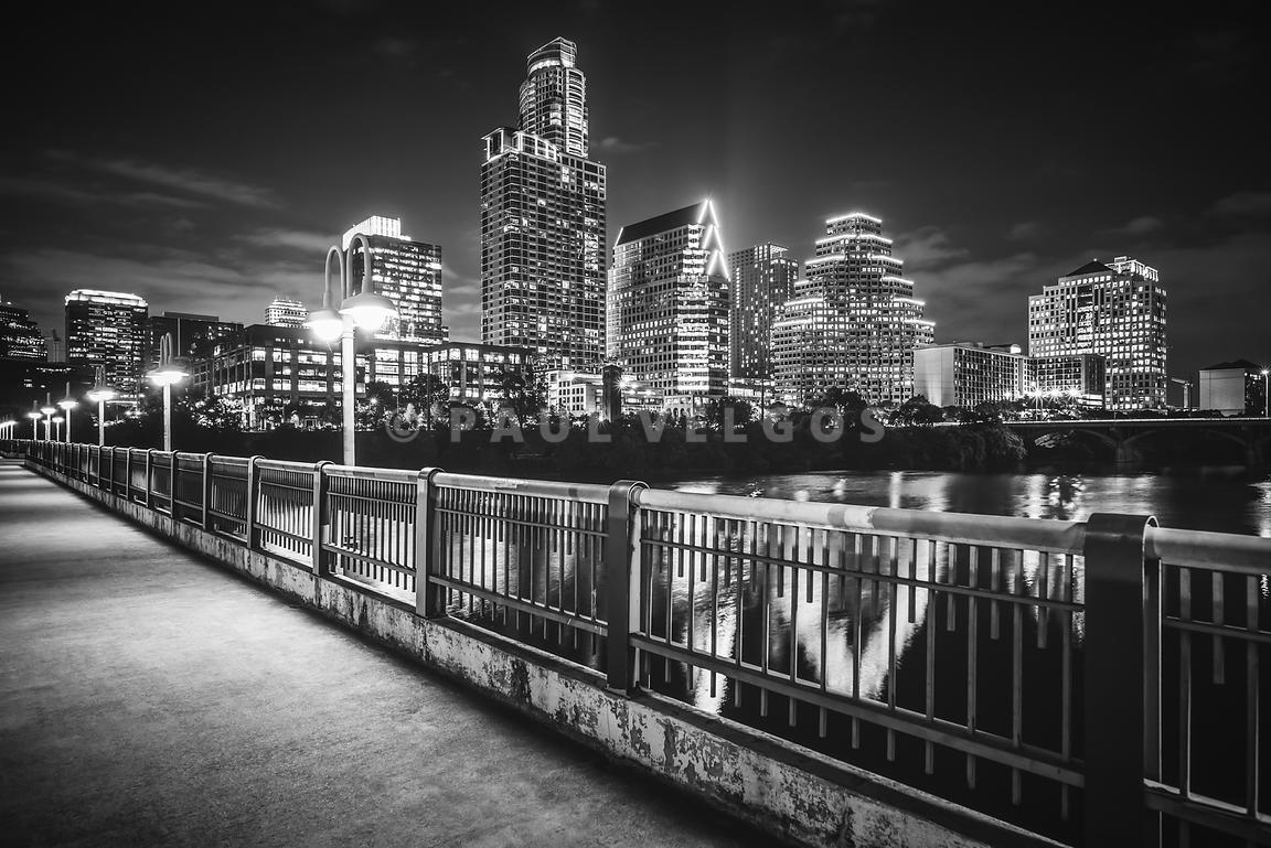 Austin Skyline at Night Black and White Picture