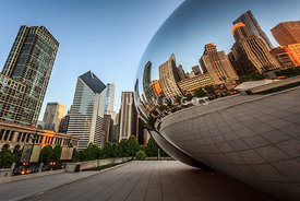 Chicago Bean Cloud Gate Sculpture Reflection