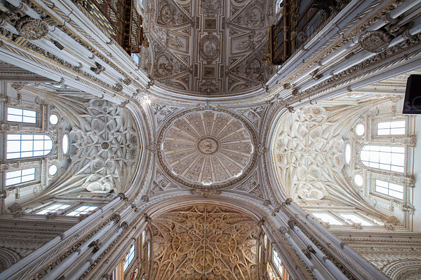 Looking up at the vaulted cieling of the Cathedral of Toledo Spain
