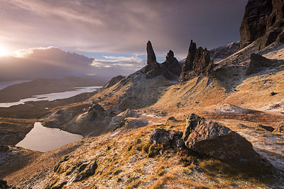 Dramatic winter scenery from the Old Man of Storr, Isle of Skye, Scotland, UK. December 2013.