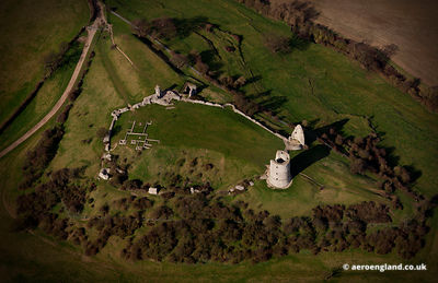 aerial photograph of  Hadleigh castle  , United Kingdom