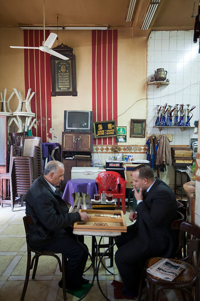 Egypt - Cairo - Men play backgammon in the Telegraph Cafe, off Halim Square