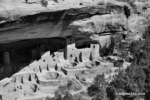 CLIFF PALACE MESA VERDE ANCIENT NATIVE AMERICAN CLIFF DWELLINGS MESA VERDE NATIONAL PARK COLORADO BLACK AND WHITE
