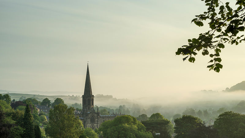 bakewell church in mist
