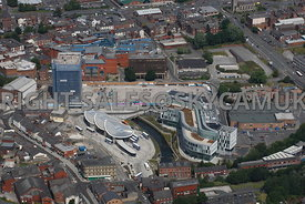 Rochdale aerial photograph of the redevelopment and regeneration area called Number One Riverside area and the new Bus and Me...