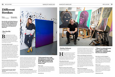 Editorial feature on local Margate Artists, Hedley Roberts and Boo Saville.