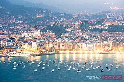 Cityscape from monte Igueldo at night, San Sebastian, Spain