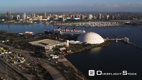 Long Beach, California, With Queen Mary Moored in Foreground.