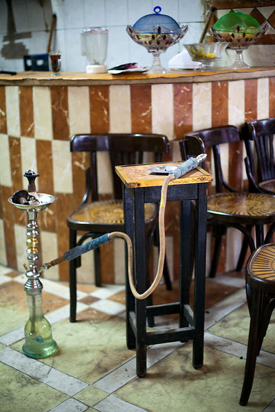Egypt - Cairo - A shish pipe on a table at the Telegraph Cafe, off Halim Square