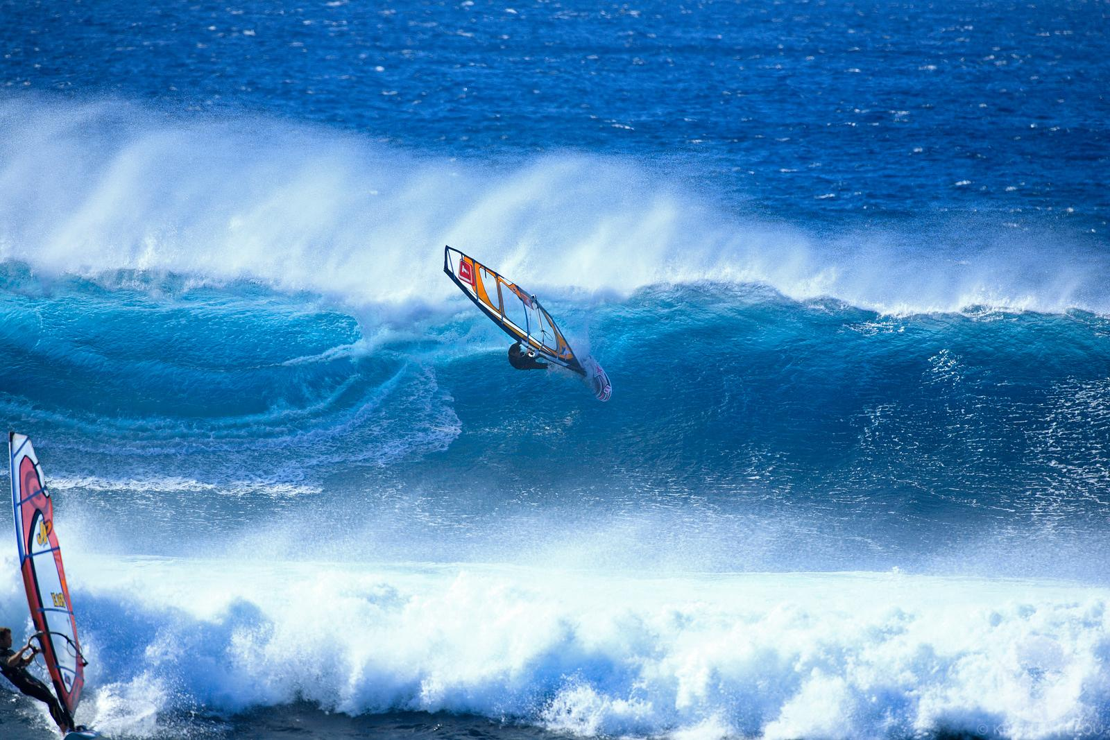 Windsurfing in Lanzarote, Canary islands, Sapin