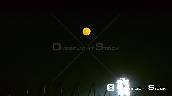 Aerial of a bright moon above the Royal Bafokeng Stadium in Rustenburg. Rustenburg North West South Africa