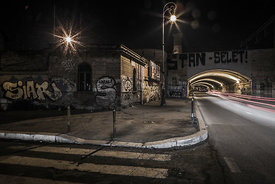 Road tunnel at night by the Termini Station in Rome