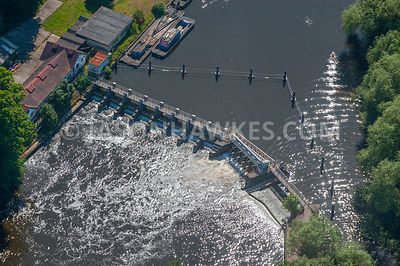 Aerial view of weir, Berkshire