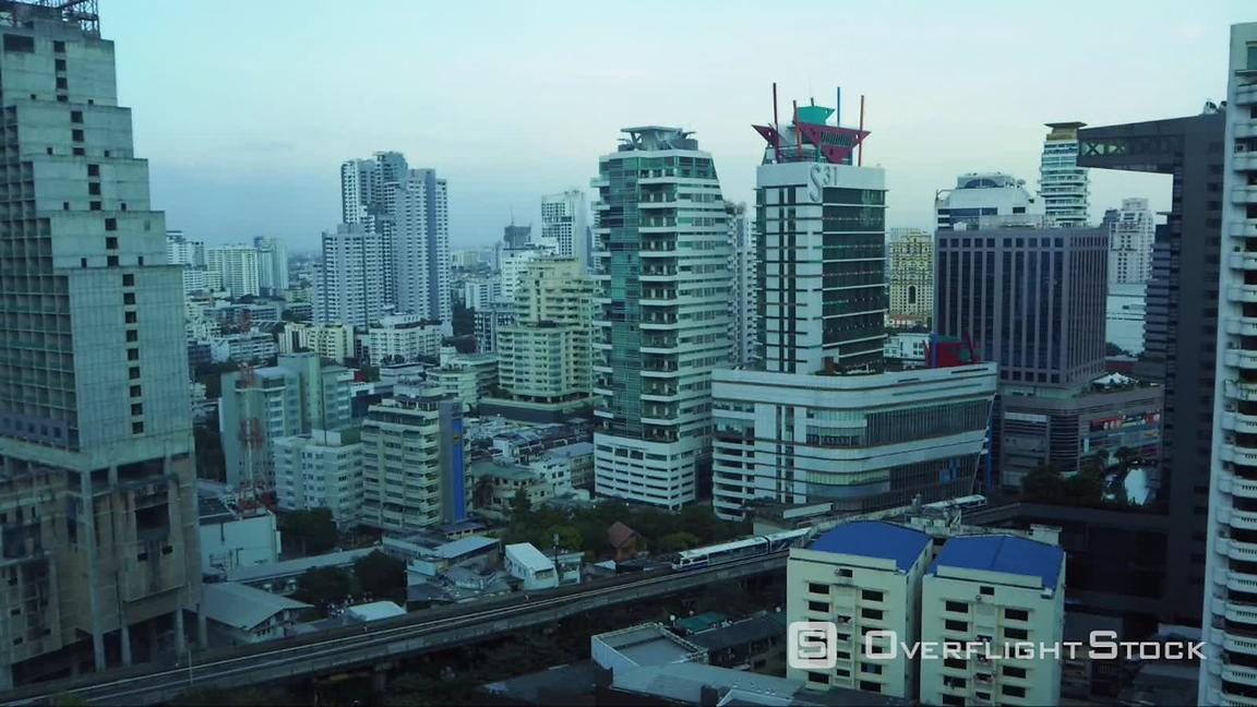Timelapse of Bangkok Downtown, from Sunset to Night, Thailand