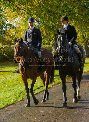Zoe Mossman, Louisa Fear arriving at the meet at Preston Lodge - Opening Meet 2016