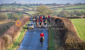Ashley Bealby ahead of the Cottesmore field - Cottesmore Hunt at Deane Bank Farm 4/12/12