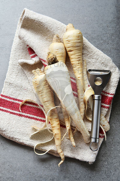 Parsnips on kitchen cloth
