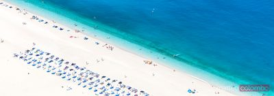Panoramic aerial view of Myrtos beach. Kefalonia, Greek Islands, Greece