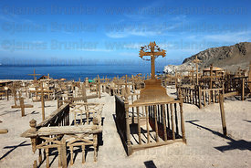 Wooden graves in historic cemetery , Pisagua , Region I , Chile