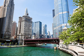 Photo of Chicago Skyline at Michigan Avenue Bridge
