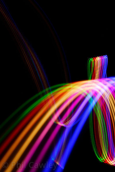 Abstract colored light trails