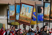 banners of the parish churches of the contradas of Narni paraded for the Corsa all'Anello.