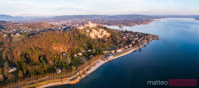 Aerial view of Rocca di Angera fortress on lake Maggiore, Italy