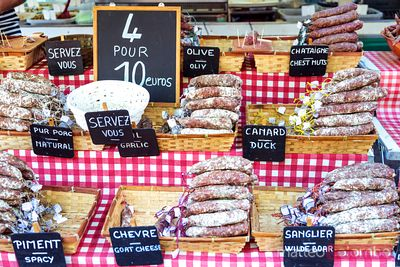 Typical salami (saucisson) at local market, Provence, France