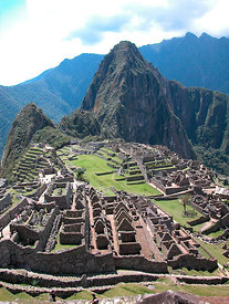 The ruins of Macchu Pichu, World Heritage Site of Humanity and one of the Seven Wonders of the World, Cusco Department, Andes...