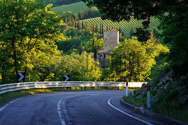 Country Road & Stone Farmhouse with Vineyard, Chianti Region, Northern Tuscany, Italy