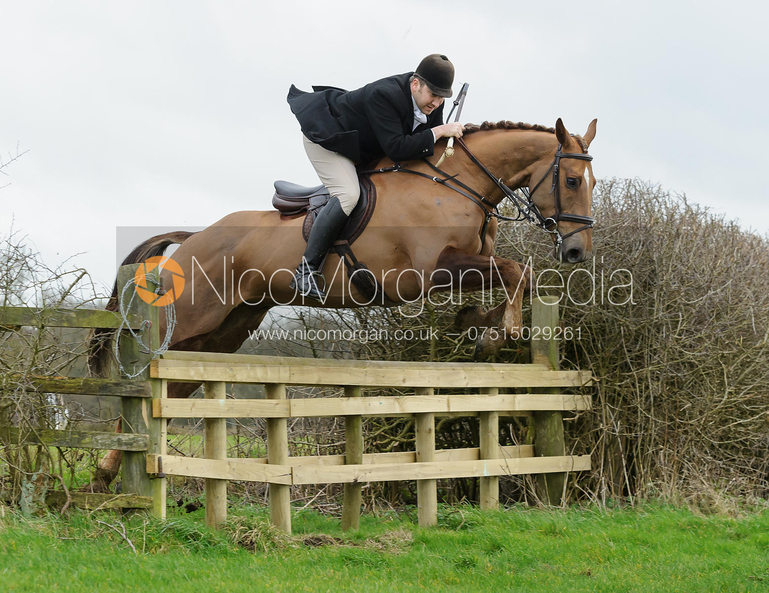 Russell Cripps jumping a hunt jump on the Quenby Estate