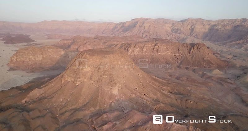 Aerial view of Rocky Desert Mountains in Sasgon Timna Valley, Negev, Arava Israel