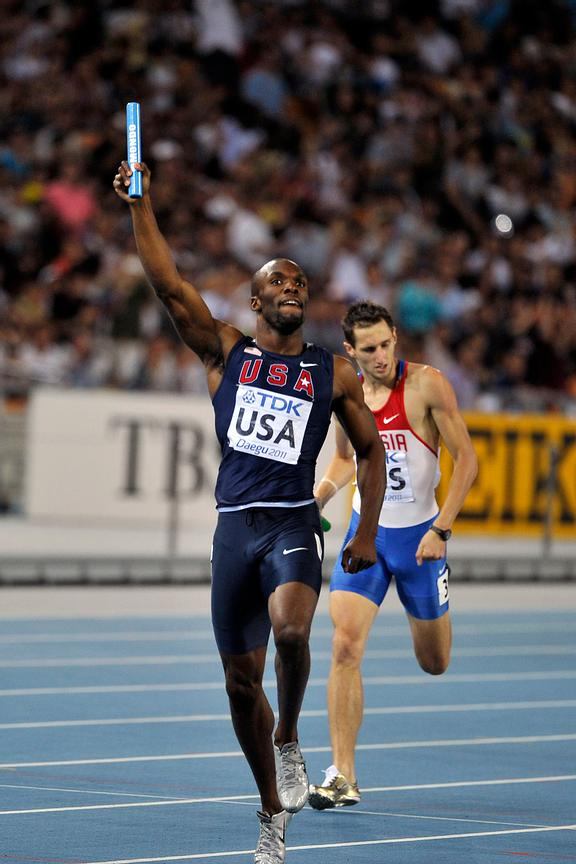LaShawn Merritt competes in the relay.