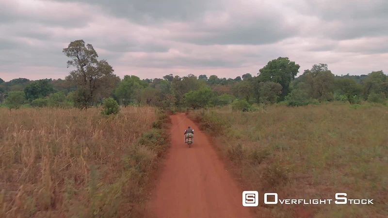 Motorcycle on Back Road in Rural Kenya Africa