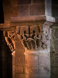 Capital of Brioude's basilica depicting sheeps carriers , Auvergne