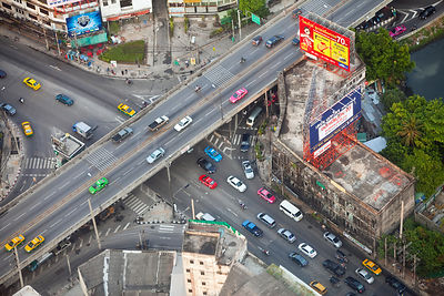 Elevated view over the busy road system in Bangkok, Thailand, 2010