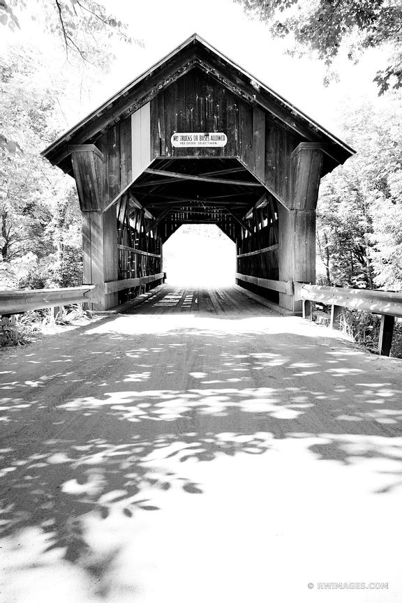 EMILY'S BRIDGE OLD WOODEN COVERED BRIDGE STOWE VERMONT BLACK AND WHITE VERTICAL