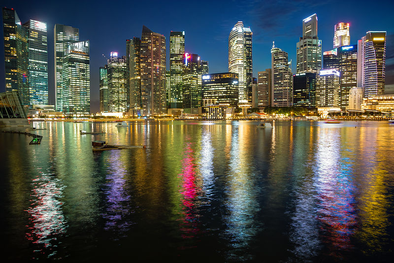 Singapore Skyline at Sunset from Marina waterfront