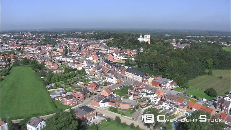 Flight approaching and orbiting basilica and bell tower in Scherpenheuvel, Belgium