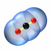 Image of Carbon dioxide molecule, CO2, Ball and Stick #1
