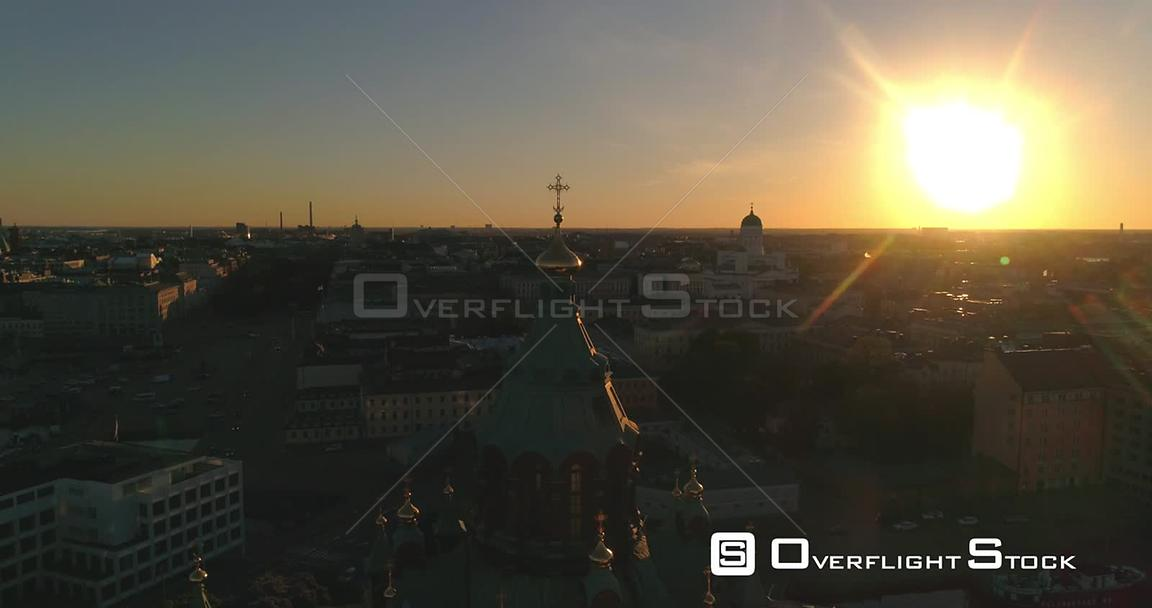 Helsinki Orthodox Church, Aerial View Around Uspetski Cathedral and Its Golden Cupole, in the City, on a Sunny Summer Evening...