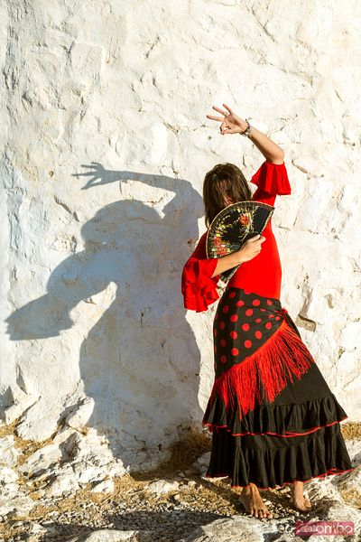 Woman in traditional clothing, dancing flamenco, Spain