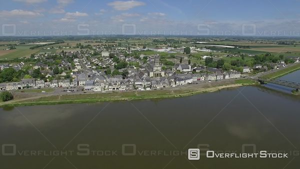Aerial view of the Loire filmed by drone, Saint-Mathurin-sur-Loire, France