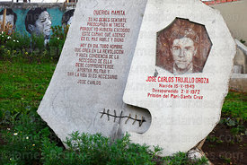 Monument to political prisoner Jose Carlos Trujillo Oroza who disappeared in Pari prison, (Santa Cruz) in 1972, Human Rights ...