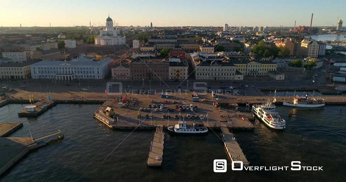 Helsinki Market Square, Aerial Sideway View of the Helsinki Cathedral and the City, on a Sunny Summer Evening Dusk, in Helsin...