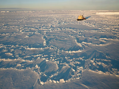 Aerial of icebreaker Kapitan Khlebnikov, Snow Hill Island, Weddell Sea, Antarctica, November 2009.